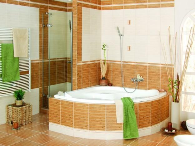 экран из плитки для ванны