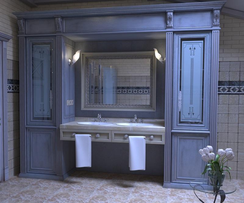 Массивное зеркало придаст особый шик вашей ванной.