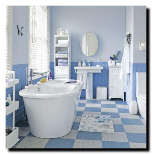 ванная комната голубая плитка