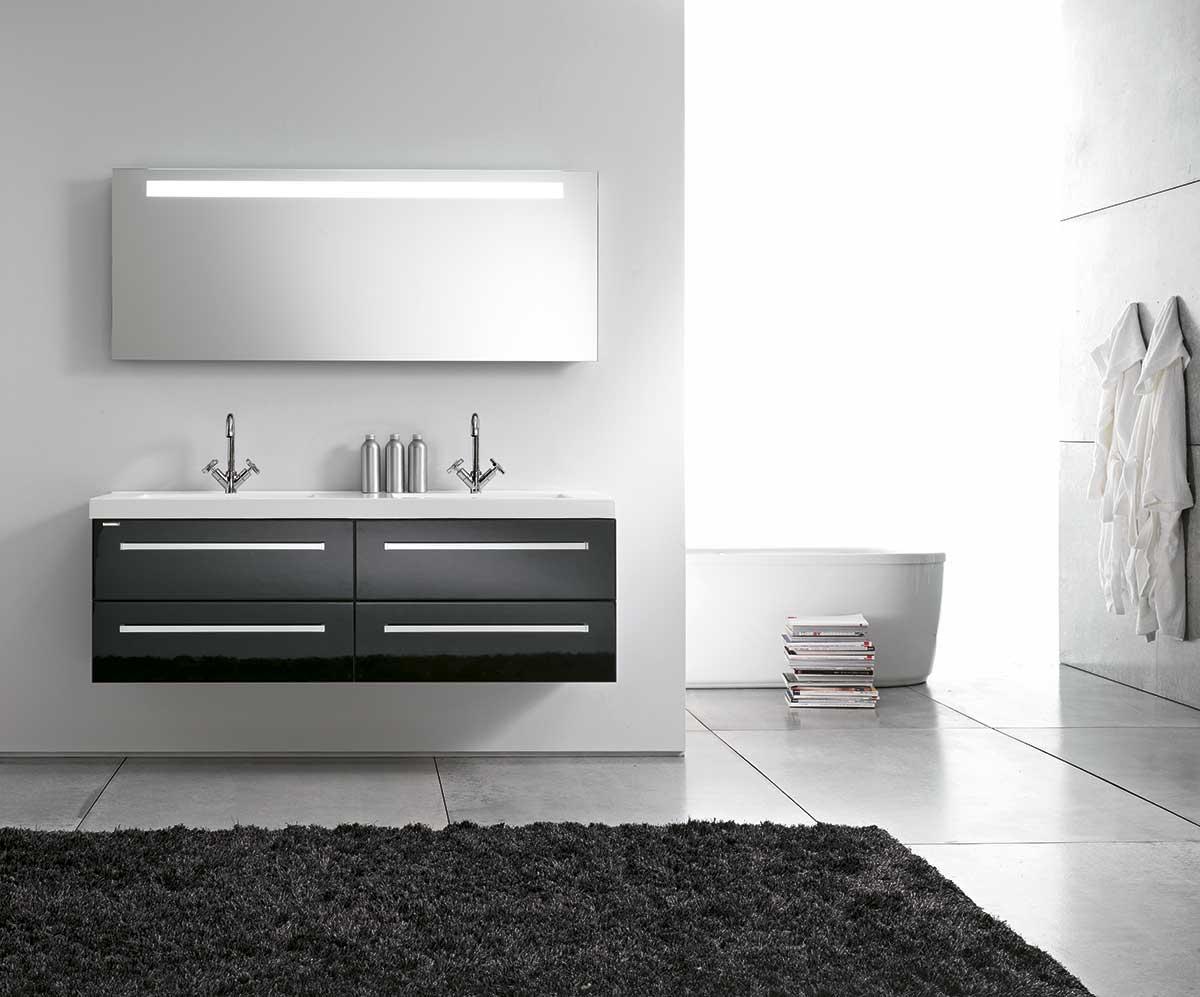 черно-белая мебель под раковину