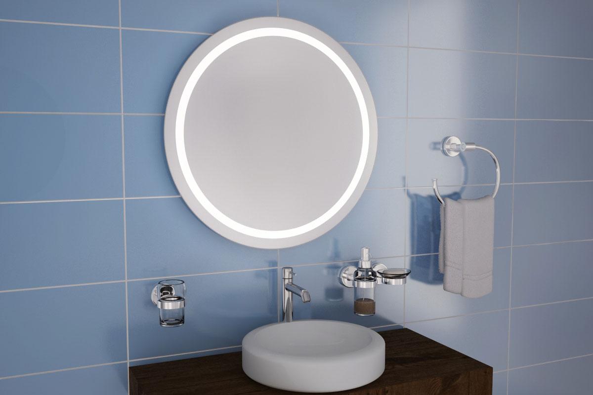 классическое круглое зеркало с внутренней подсветкой
