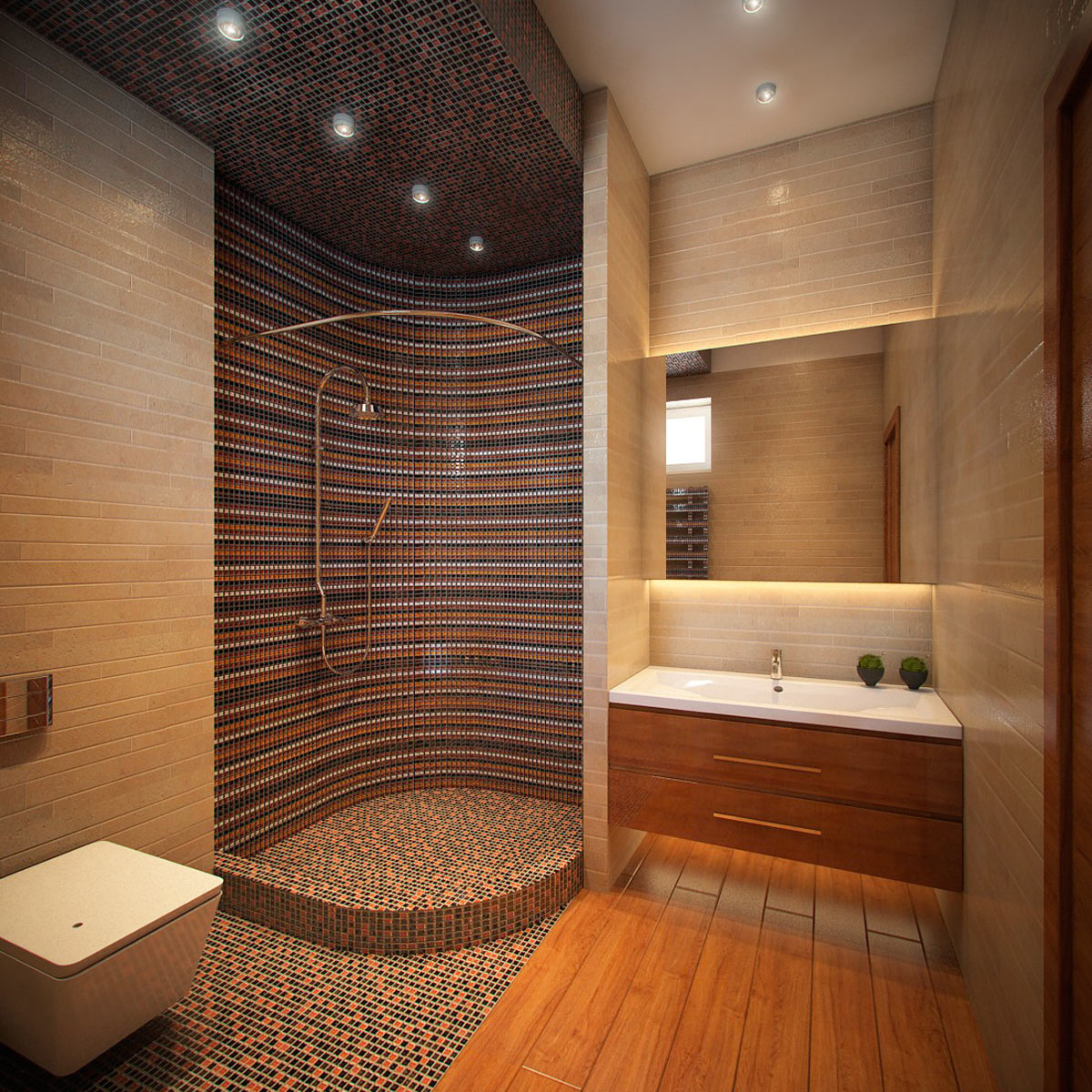 фото ванна и туалет совместный наклонный потолок