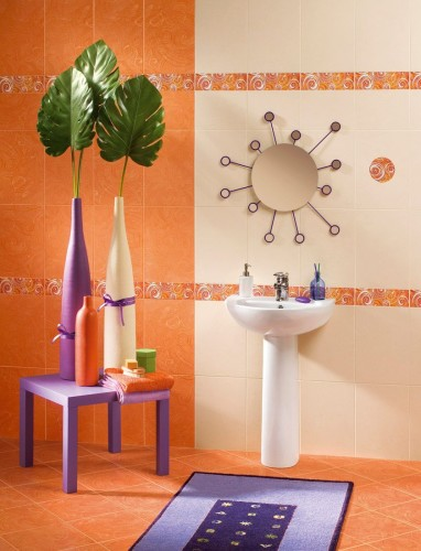 стильная оранжевая ванна