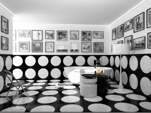 необычный дизайн ванной комнаты черный