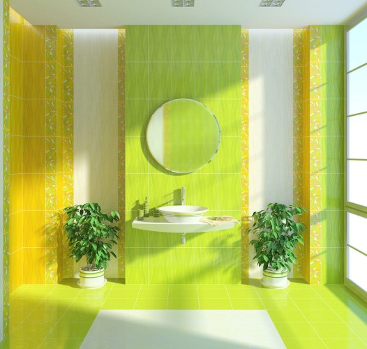 ванная комната в салатовом цвете