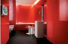 Как будет смотреться красная плитка в ванной комнате