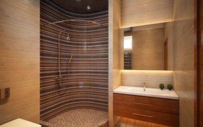 Дизайн душевой кабины из керамической плитки